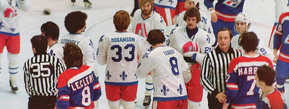 Hockey players fighting