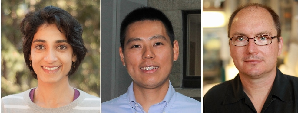 From left, Aparna Suvrathan, Yang Zhou and Timothy Kennedy