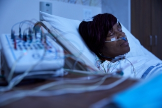 A woman taking part in a sleep study