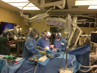 Doctors removing a brain tumour from a patient at The Neuro