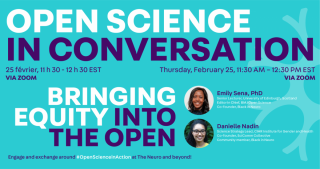 """Event poster for """"Open Science in Conversation- Bringing Equity Into The Open"""""""