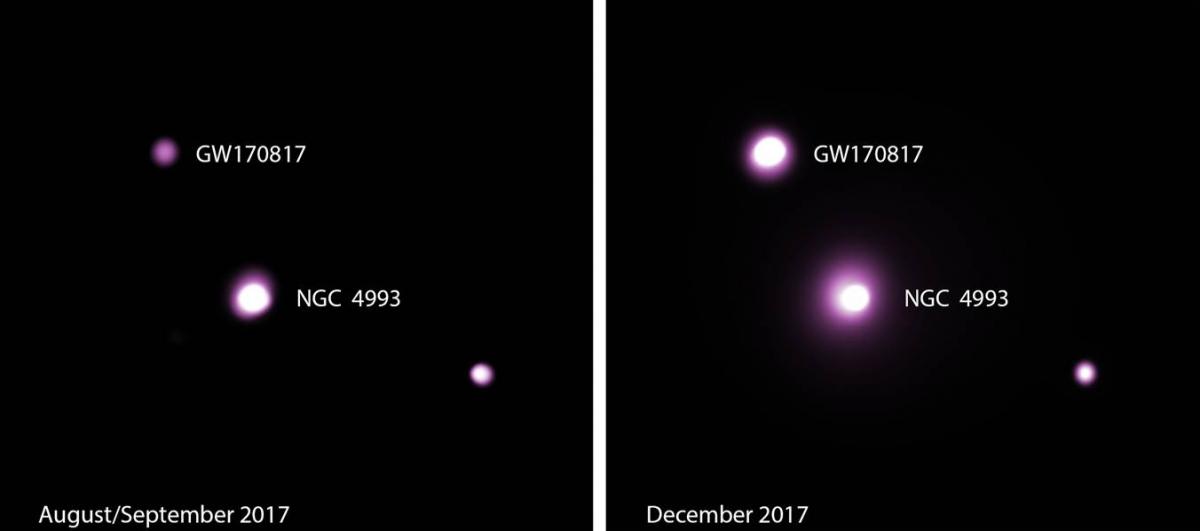 V místě loňské detekce gravitačních vln něco stále silněji září, astrofyzikové zatím neví, co by to mohlo být