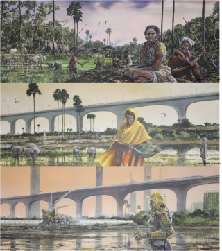 The Indian subcontinent: The top image is a busy agrarian village scene of rice planting, livestock use, and social life. The second is a present-day scene showing the mix of traditional rice farming and modern infrastructure present in many areas of the Global South. The bottom image shows a future of heat-adaptive technologies including robotic agriculture and green buildings with minimal human presence due to the need for personal protective equipment. Credit: James McKay, CC BY-ND, The Conversation