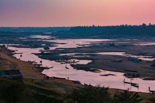Sediment mining in Goyain River, Bangladesh.  CREDIT: Jim Best