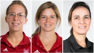 (L to R) Kelsey Wilson (soccer), Rikki Bowles (basketball) and Sylvie Beliveau (senioradvisor varsity sports)