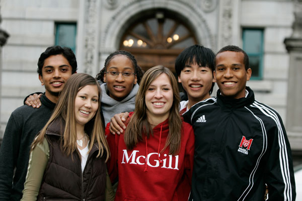 Students outside the Macdonald Harrington Building