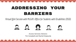 Poster for Virtual Orientation hosted by the Office for Students with Disabilities
