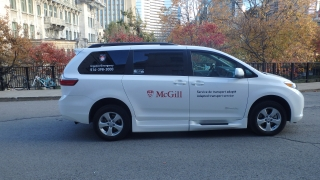 A photo of the McGill's Adapted Transportation van