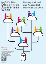 Poster for McGill's Third Disability Awareness Week - Making it virtual and accessible