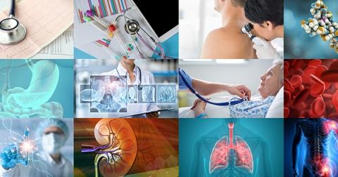 Collage de douze images associées à la santé