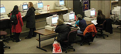 Students in the McLennan Library Building.