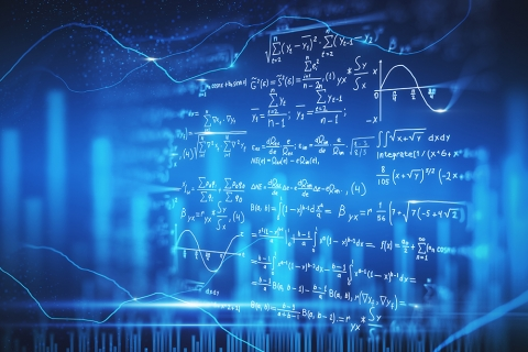Blackboard with calculations