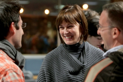 Principal Heather Munroe-Blum chats with attendees at McGill's 2010 Town Hall.