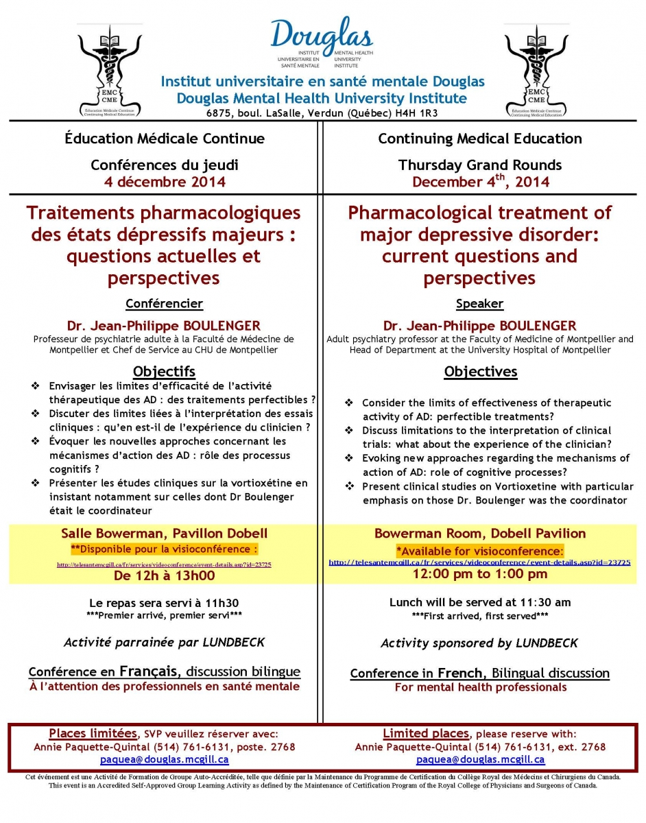 "grand rounds: ""pharmacological treatment of major depressive"