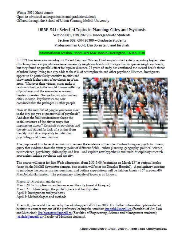 Cities and Psychosis - 1 credit course open to graduate