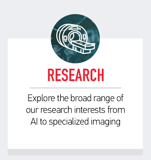 Research. Explore the broad range of our research interest from AI to specialized imaging.