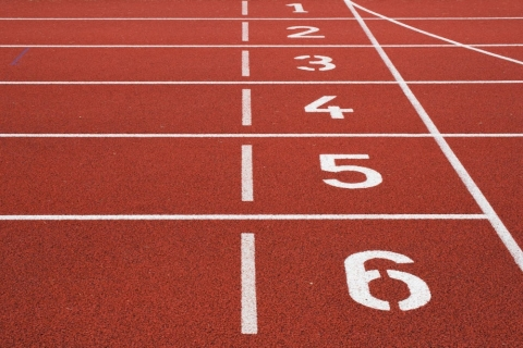 Numbered lanes on a running track