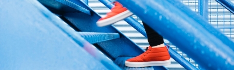 Shoes climbing stairs