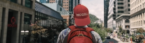 Student wearing a McGill hat