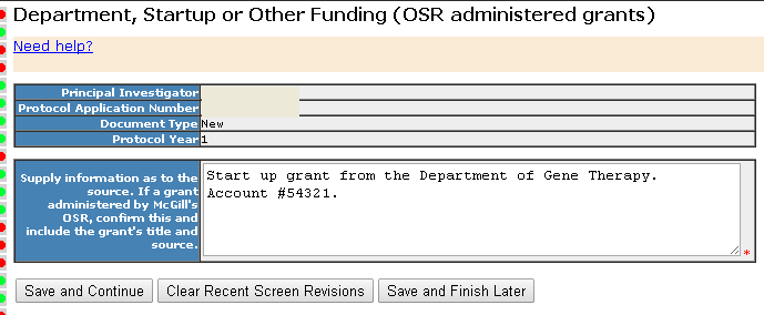 Section 6- Funding Sources - Dept Startup or Other Funding