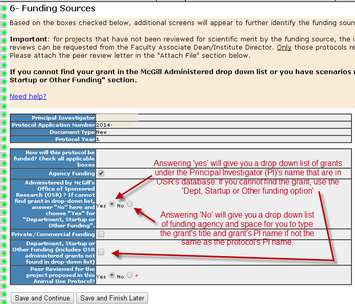 Section 6- Funding Sources - main page