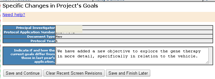 Section 9 - Changes in Project's Goals - details