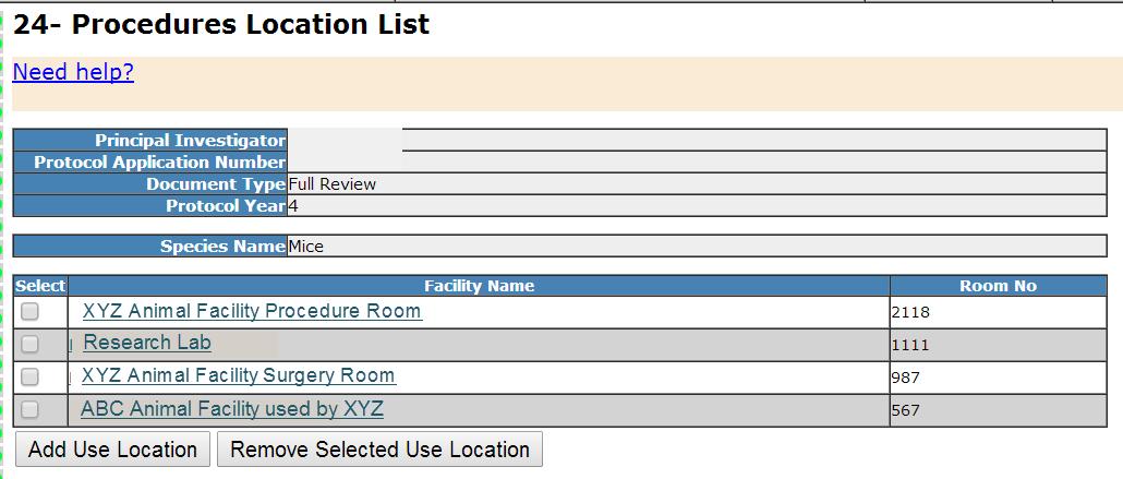 Section 24- Procedures Location List