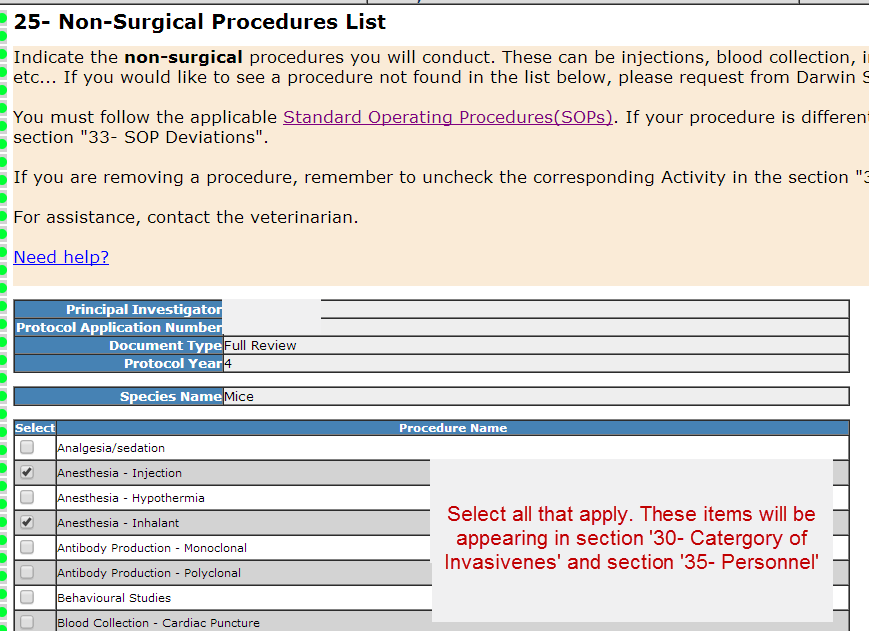 Section 25- Non-Surgical Procedures List
