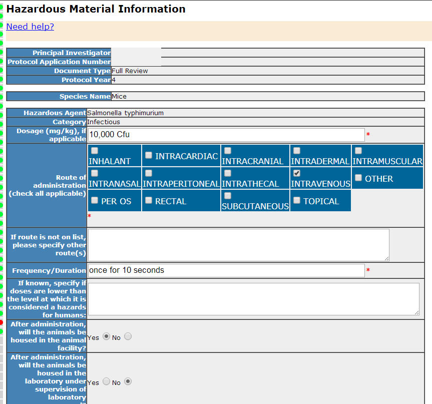 Section 27- Hazardous Material Information - Individual details
