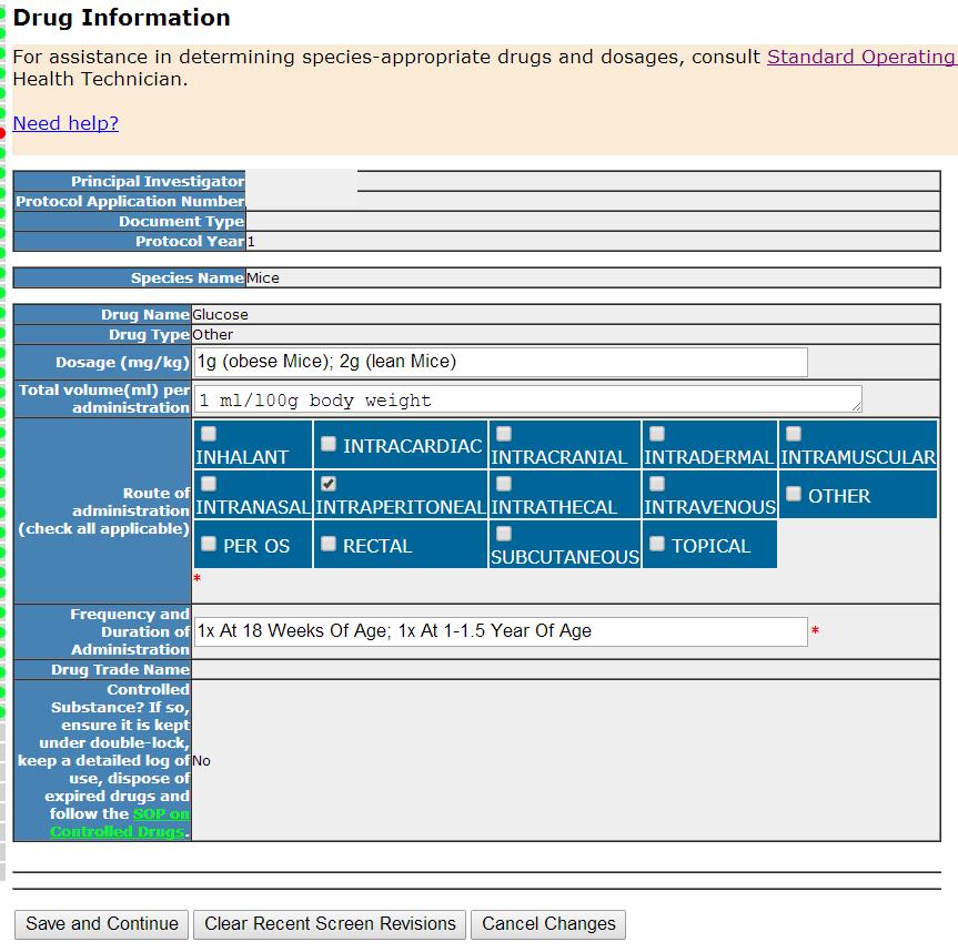 Section 28- Drug Information - Individual details
