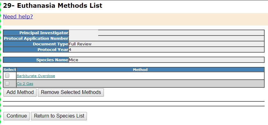 Section 29- Euthanasia Methods List