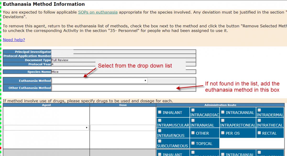 Section 29 - Euthanasia Method Information - Select method