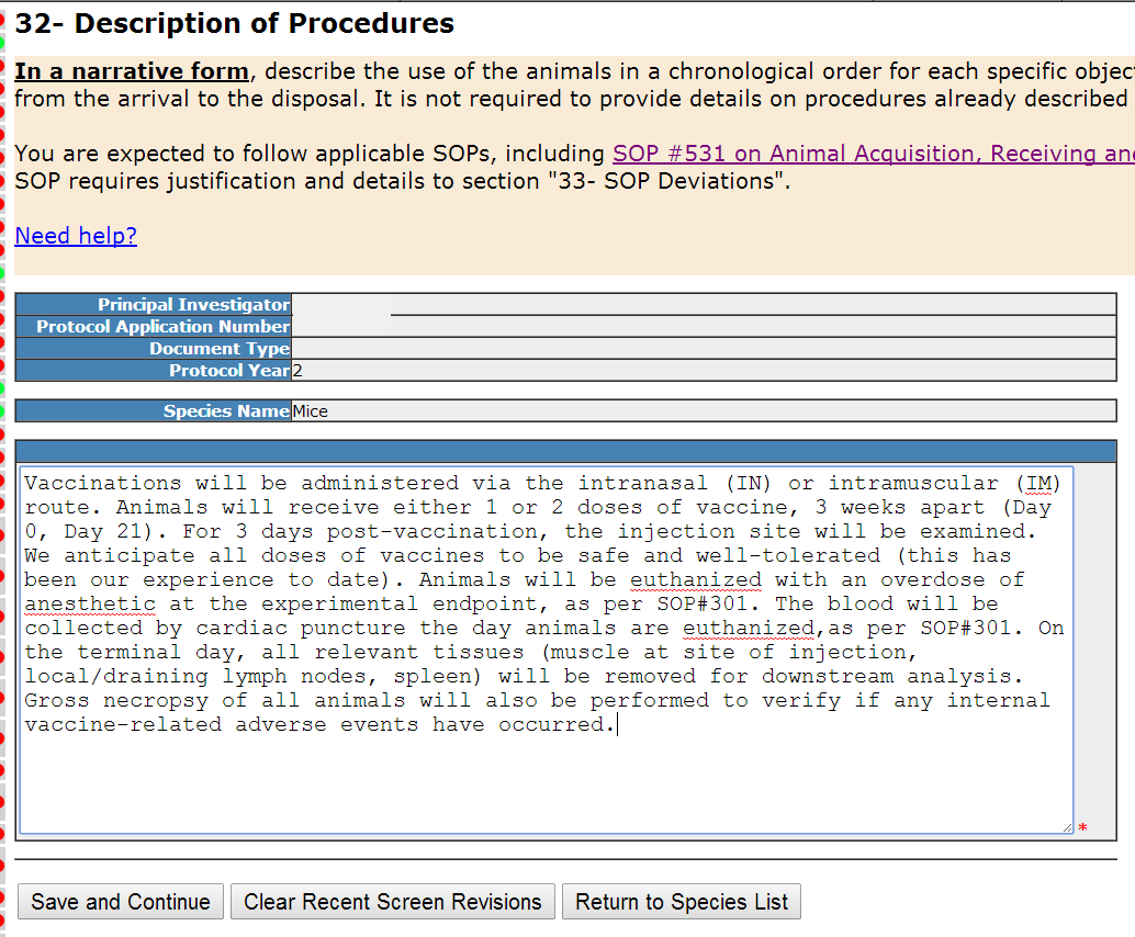 Section 32- Description of Procedures