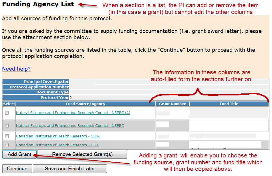 Section 6 - Funding Agency List