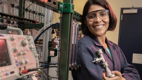 Pictured: Jennifer Martin del Campo, Ph.D. candidate, Catalytic Process Engineeringfor Sustainable Energy Conversion Technologies.