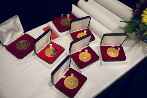 Gold medals in velvet boxes