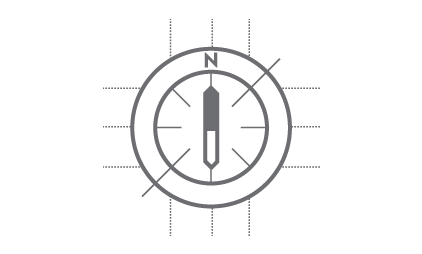 a compass (graphical icon)