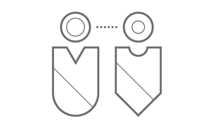 two individuals who are communicating (graphical icon)