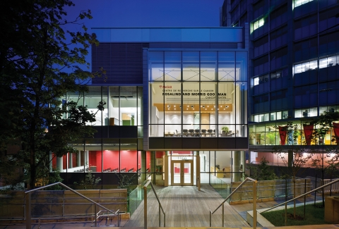 Photo of the Rosalind and Morris Goodman Cancer Centre Building at night