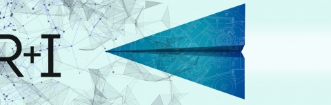 Research and Innovation digital banner - A blue banner with geometric lines, the letters R & I, and a paper airplane
