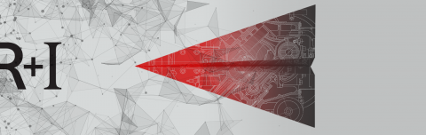 design of a red geometric paper plane and R+I logo.