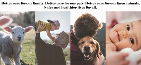 collage of animals and humans interacting. Title of graphic reads: Better care for our family, Better care for our pets, Better care for our farm animals, Safer and healthier lives for all.