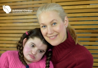 Image:Nuala Summerfield, Founder of The Schinzel-Giedion Syndrome Foundation with her daughter Ophelia. Submitted by Nuala Summerfield.