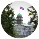 McGill flies the Hiwatha Wampum Belt Flag from the Arts Building.