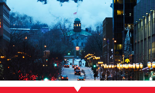 McGill campus in the winter at night