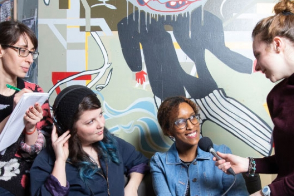 Students being interviewed