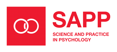 Science and Practice in Psychology logo red venn diagram