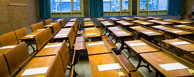 Desks prepared for final exams.