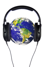 Webcast image: globe with headphones