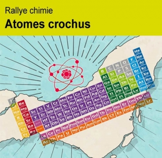 Atomes crochus poster- periodic table and an atom model